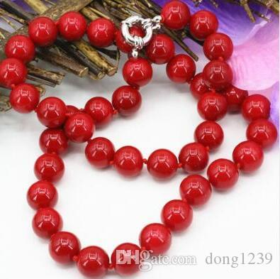 Ry Choker Anime Gem Choker Artificial Red Coral Stone 10mm Round Beads Chain Necklace