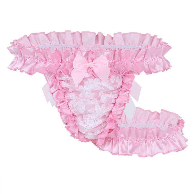 Sexy Men briefs Ruffle Frilly Satin sissy panties gay Briefs Underwear Bowknot Man thongs and g strings panties cueca masculina