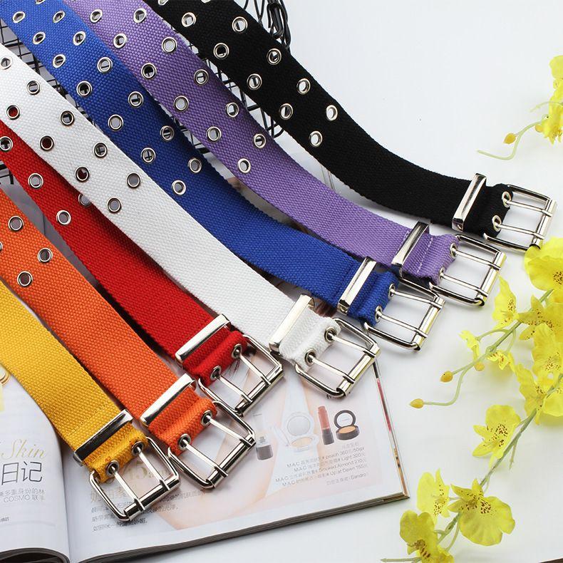 2019 New Designer Harajuku cintas largas tira da cintura Canvas Web Duplo Grommet buraco Buckle Feminino Masculino Mulheres Homens Jeans