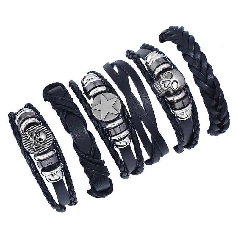 Desenhos feitos à mão Genuine Vintage Leather Wrist Cuff Enrole Pulseira ajustável