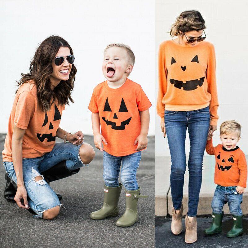 Familia Reino Unido camisa a juego Trajes MAMA DEL BEBÉ DEL NIÑO Camiseta de algodón de ropa Pareja de calabaza de Halloween Camisetas