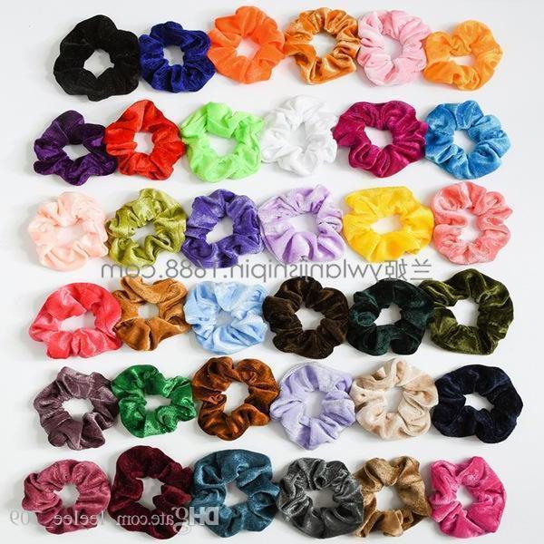 36 renk Kadın Kızlar Canlı Katı Kadife Kumaş Elastik Halka Saç Kravatlar Aksesuarları At Kuyruğu Tutucu Hairbands Lastik Bant Scrunchies