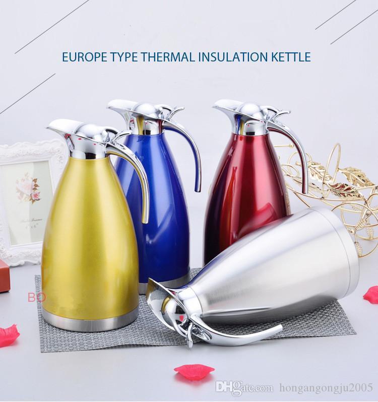 Stainless steel vacuum insulation pot two tier warm water bottle European coffee pot household kettle bottle gift 2L cold water bottle