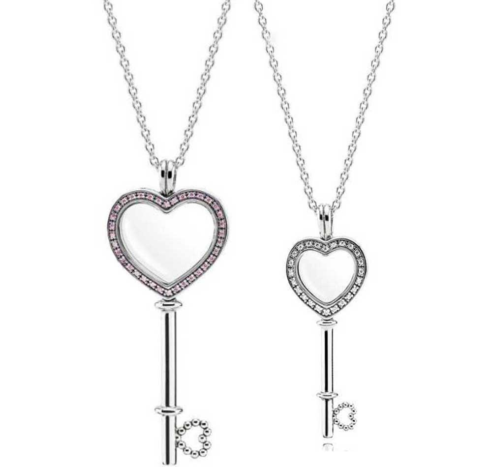 Große rosa kleine weiße Herz-Key Schwimm-hängende Halskette 100% reale 925 Sterlingsilber-Halskette für WomenGui