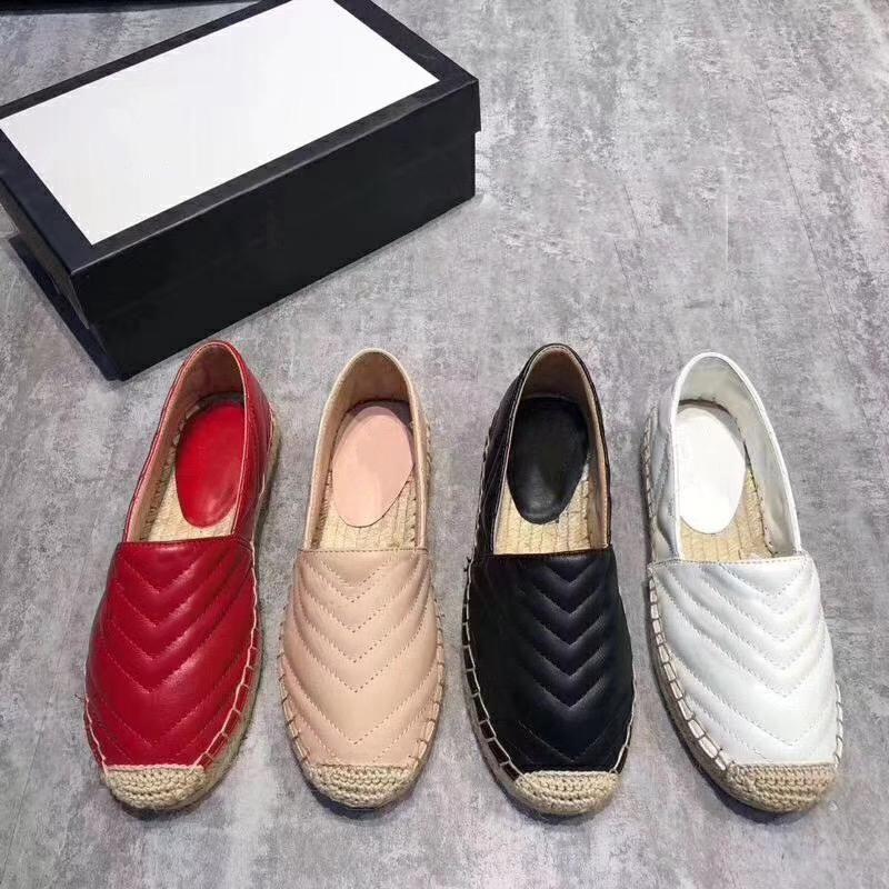 Luxus-Frauen-Stroh gewebt Sohle flache Schuhe Designer Freizeitschuh Fischer Schuhe aus echtem Leder lässig Schnürsenkel Original-Logo Schuhkarton 4