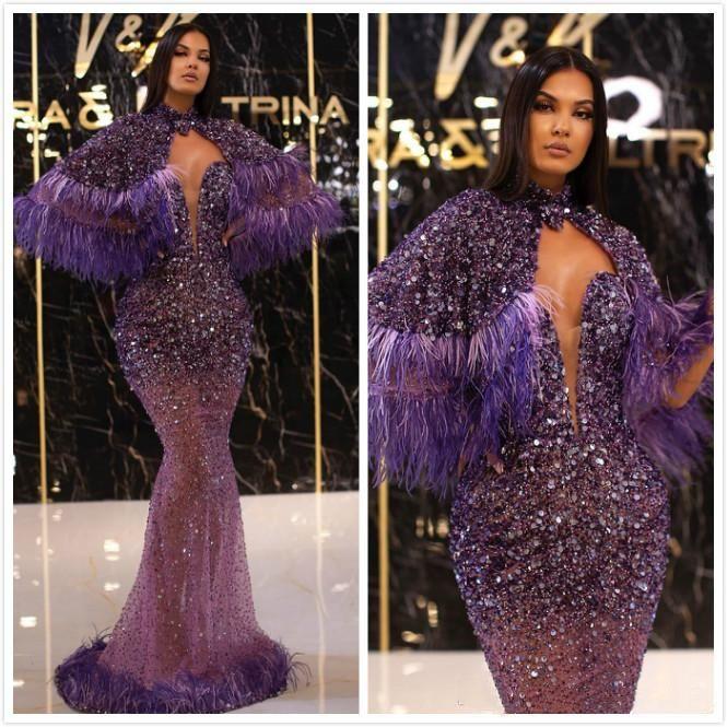 2020 Arapça ASO EBI Mor Sparkly Seksi Abiye Boncuklu Payetli Tüy Gelinlik Modelleri Mermaid Örgün Kokteyl Parti Elbiseler