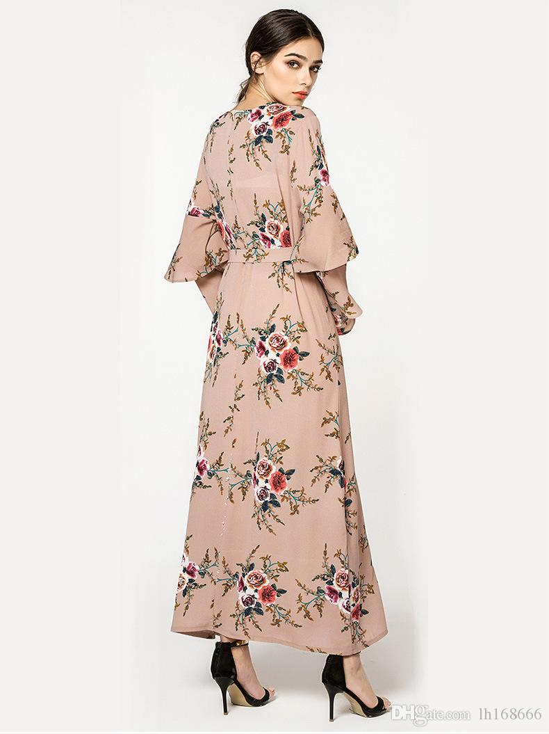 2019 Plus Size Dress Women Vestidos Casual Muslim Long Sleeve Maxi Dresses  Clothing Evening Party 4XL 5XL 6XL 7XL Shirt Dresses Fashion Dress From ...
