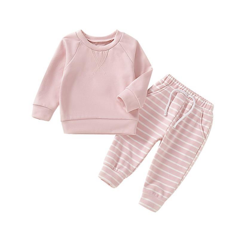 Bebé bebés de los muchachos manga larga blusa patrón de rayas pantalones pijama de dormir Set