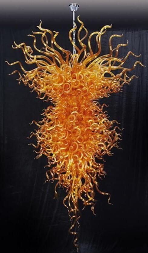 Bernstein Handgemachte geblasenem Glas Kronleuchter Moderne Murano Glaspendelleuchte Amerikanischer Stolz Kronleuchter mit Led-Lampen