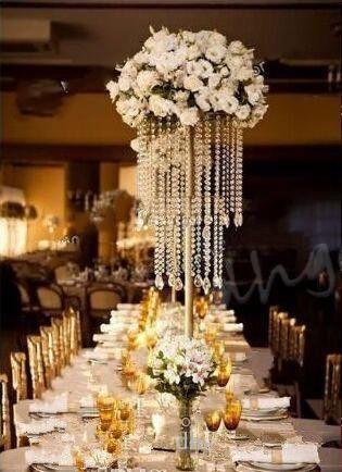 Wedding Centerpiece Acrylic Bead Strands 43cm 53cm 73cm tall Crystal Flower Stand for Wedding Table Decor With K9 Crystal Bead and Pendant