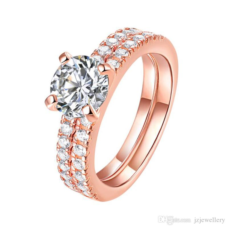 Sterling Silver Womens Colorless Cubic Zirconia Rose Gold Tone Wedding Set Ring Sizes 5-10
