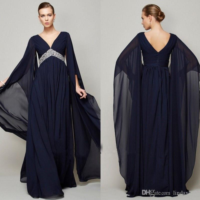 Dark Navy Beaded Long Mother Of The Bride Dresses 2019 New V Neck Arabic Moroccan Dubai Kaftan Women Wear Wedding Guest Dress