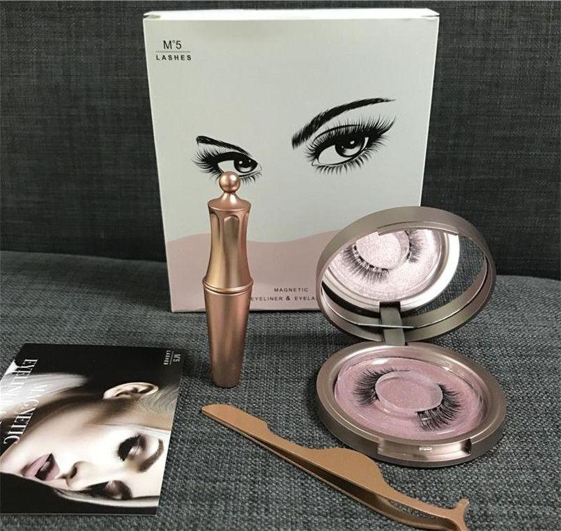 Magnetic Liquid Eyeliner & Five Magnetic False Eyelashes & Tweezer Set Magnet False Eyelashes Set Glue Make Up Tools dhl FREE