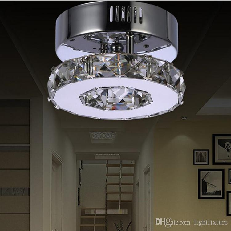 Kristal Lamba Yaratıcı Yuvarlak Kristal Paslanmaz Çelik Tavan Işık Modern LED Kristal Koridor Koridor Tavan Lambası Blacony Cilalar LED
