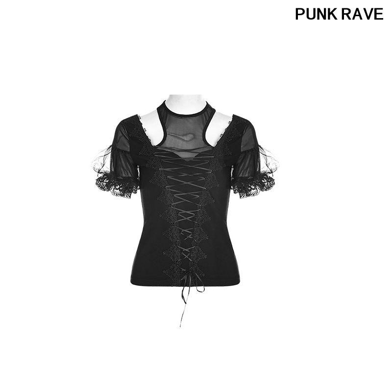 La cinta del cordón atractivo flaco gótico popular de las señoras Dibujar cadena vendaje de malla camiseta de la manera de soplo de manga corta de la camiseta PUNKY DELIRIO T-490