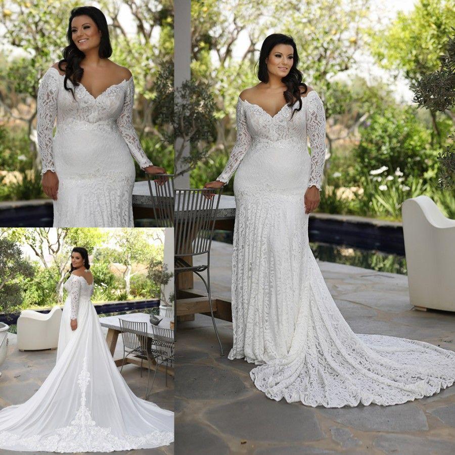 Vente chaude Plus Size Sirène Robes de Mariée Sheer de l'épaule manches longues robes de mariée avec robe de mariée train détachable