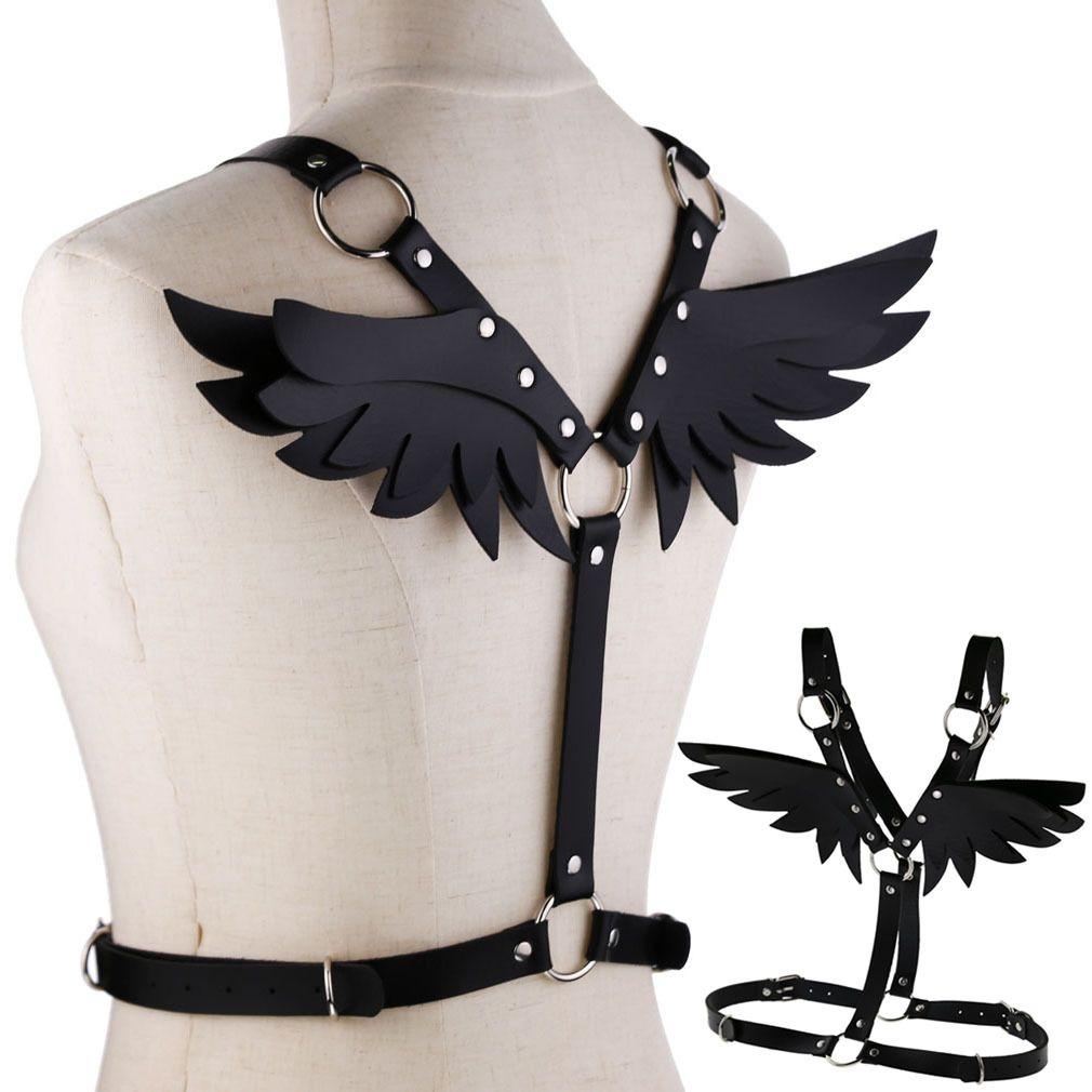 Cuero de la joyería del cuerpo del ala del ángel de la PU correa de las mujeres Top Tie Cinturón cuerpo Pareja Hada ala juguete del sexo SM atractivo gótico Juegos Fun Club