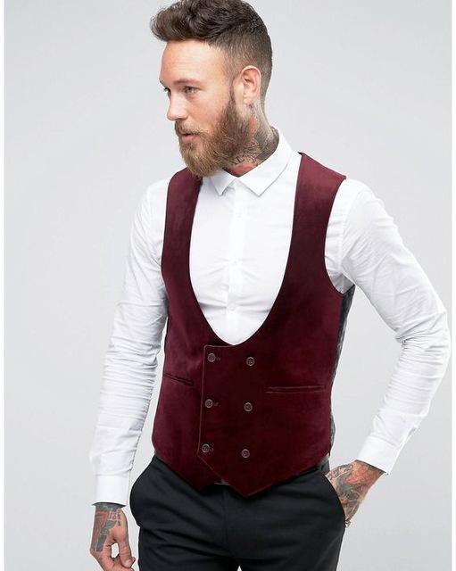 New Design Burgundy Wine Red Velvet Vest Double Breasted Wedding Suits Waistcoat Formal Tuxedo Party Prom Suit Vest Gilet Colete