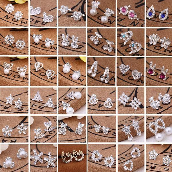 Hot Selling 45 Styles Korean Earrings Creative Super Shiny Diamond New Pearl Stud Earrings Fashion Jewelry High Quality