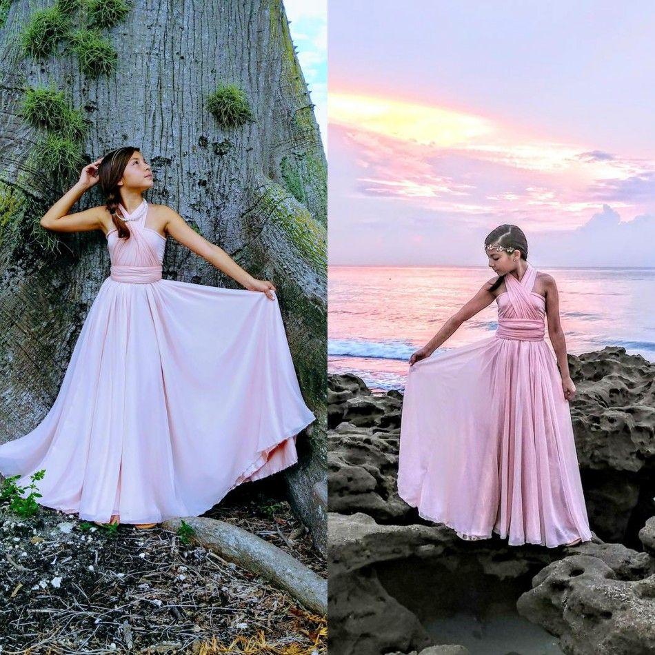 Beach Halter Bohemia Flower Girls Dresses Tiered Open Back Girls Pageant Gowns Satin Floor Length Kids Formal Wear For Wedding