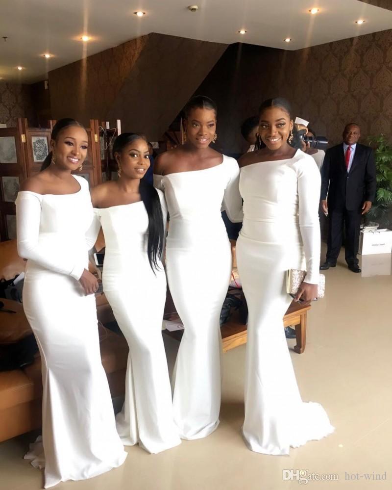 Nijeryalı Afrika Zarif Beyaz Mermaid Gelinlik Modelleri Siyah Kızlar Kat Uzunluk Uzun Kollu Onur Hizmetçi Ucuz Örgün Giymek giymek