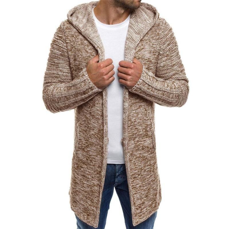 Men's Jacket Hooded Sportswear Solid Knit Trench Coat Jacket Cardigan Long Sleeve Outwear Blouse men's Wool Windproof