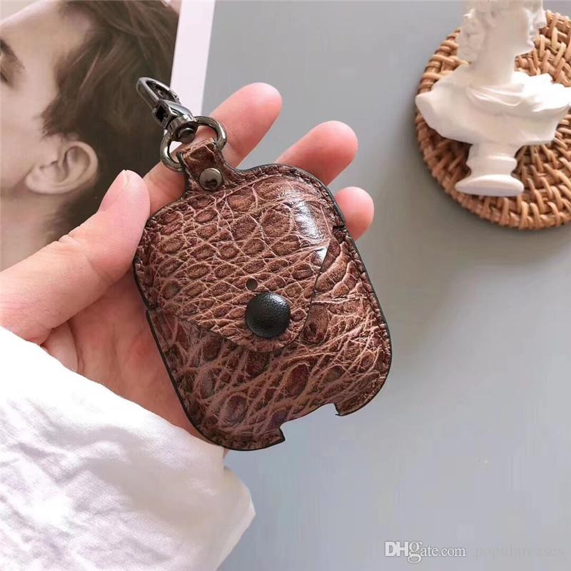 For Airpods Case PU Leather Protective Cover Hook Clasp Keychain Anti Lost Fashion Earphone Cases Bluetooth Protect Your Headphone Ear Pods