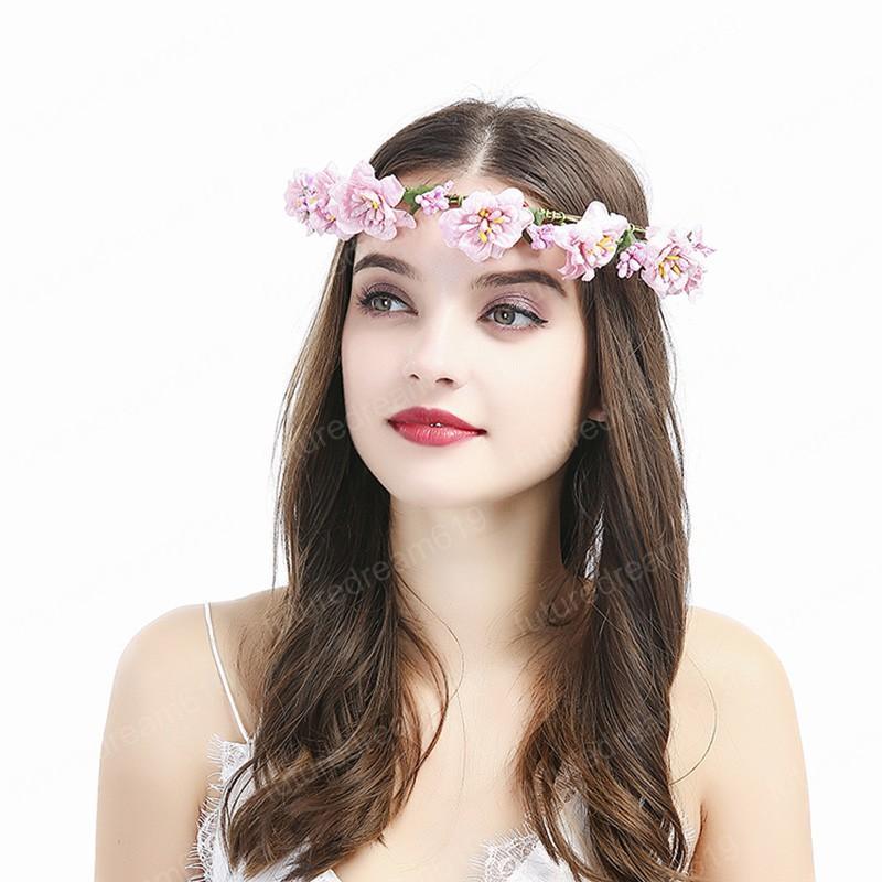 Boho flor diadema boda flor corona dulce guirnalda cinta playa guirnalda dama de honor Wianek Kwiatowy novia accesorios para el cabello