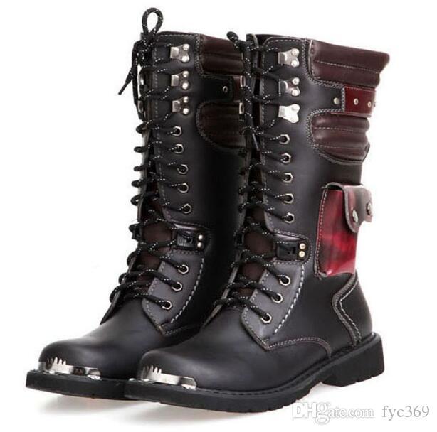 2020 مصمم الحذاء الشرير الصخرة العسكري للالركبة أحذية عالية دراجة نارية جلد الجيش الأدوات الذكور الأحذية فاسق صخرة الرجال القتالية الرجل