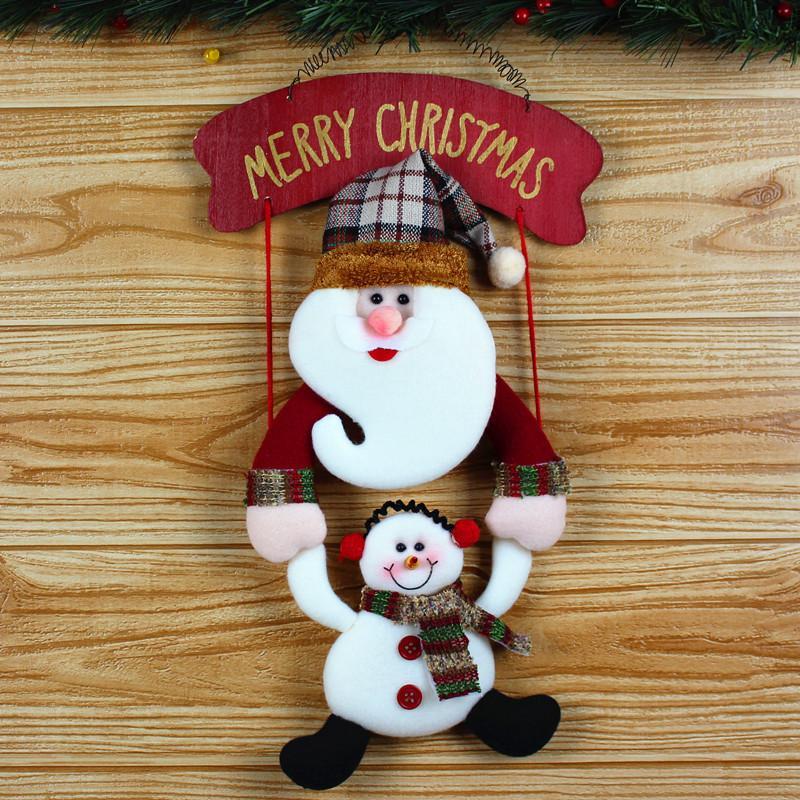 Éponte Noël Poupées Père Noël Bonhomme de neige Décorations de Noël Pendentif New Year Party cadeau pour enfants Boutique Fenêtre Ornements Kerst