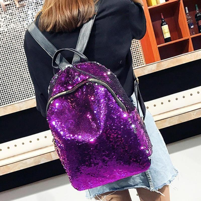 Women Sequins Backpack Teenage Girls Fashion Schoolbag Casual Travel Bling Rucksack Mochila Feminina Holographic Backpack Z95 Y190627