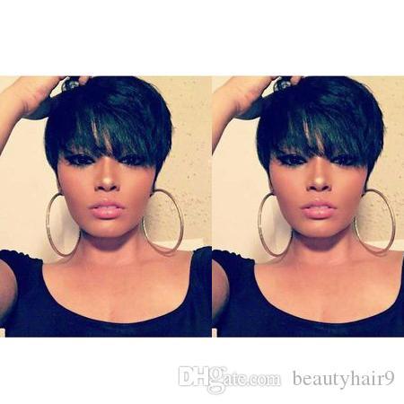 nuovo taglio taglio di capelli corto di bellezza delle donne parrucche dritto africano Americ capello umano simulazione scorciatoia parrucca nera per le donne