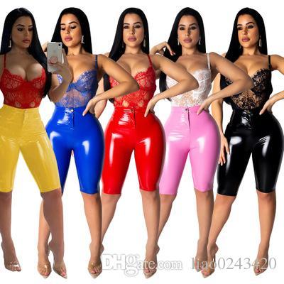 Liberi le donne di modo i pantaloni di cuoio dell'unità di elaborazione di alta elasticità di modo casuale i pantaloni di lunghezza del ginocchio aderenti a vita alta aderiscono al colore soild