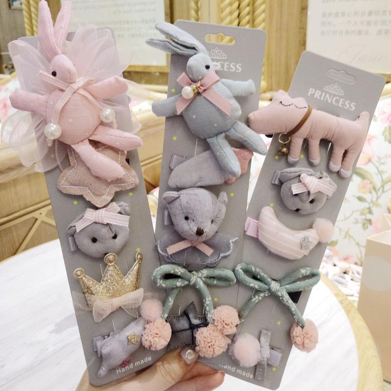 Baby Cute Hair Clip Bear Bear Child Hair Rope Accessories Set Princess Crown Box Accessories
