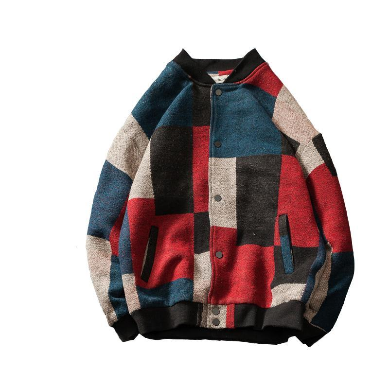 Men 'S Arbeit Wolle Kleiderständer Kragen Mäntel Street Marke Bomber Jacken Mode Farbe Splicing Windjacke Größe M-5XL