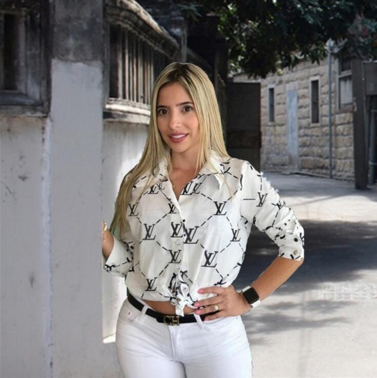 Women print Shirt fashion Autumn Lapel Loose Long-sleeved Blouses and Tops Casual Fashion T shirt Women Clothing Black White