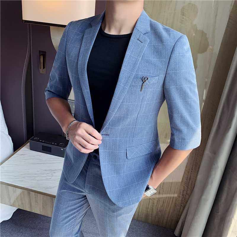 Yaz Ekose Erkekler Suit 2 Setleri Moda Gelinlik Damat smokin Suit Erkekler İnce İş Biçimsel Terno Kostüm Homme