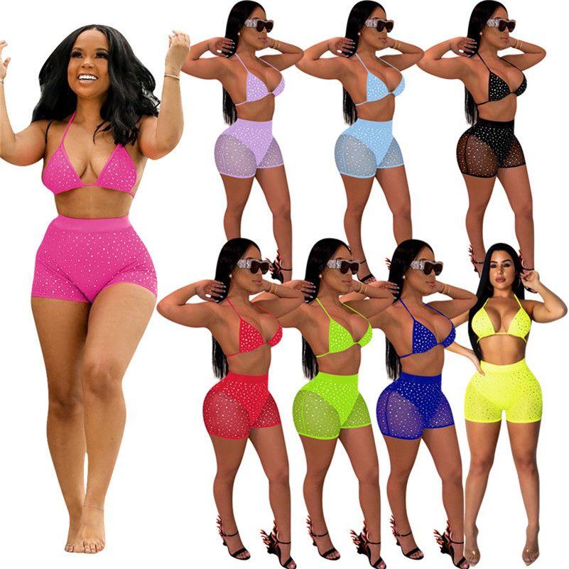 Women bra shorts suit sequins two pieces set fashion casual sports wear bra Shorts fitness outfits tank vest skinny pants jogger suit 3357