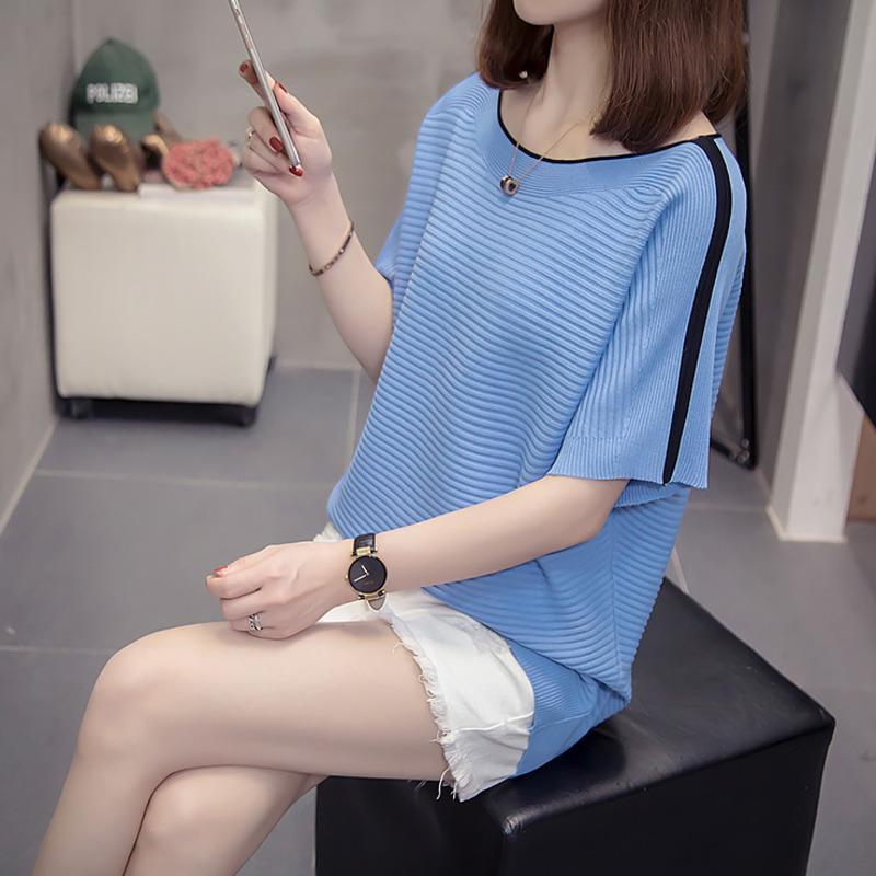 Plus Size Slash Neck Knitted Tops Women 2020 Summer Loose Short Sleeve Korean T-shirts Female Oversized Trendy Knit Tshirts