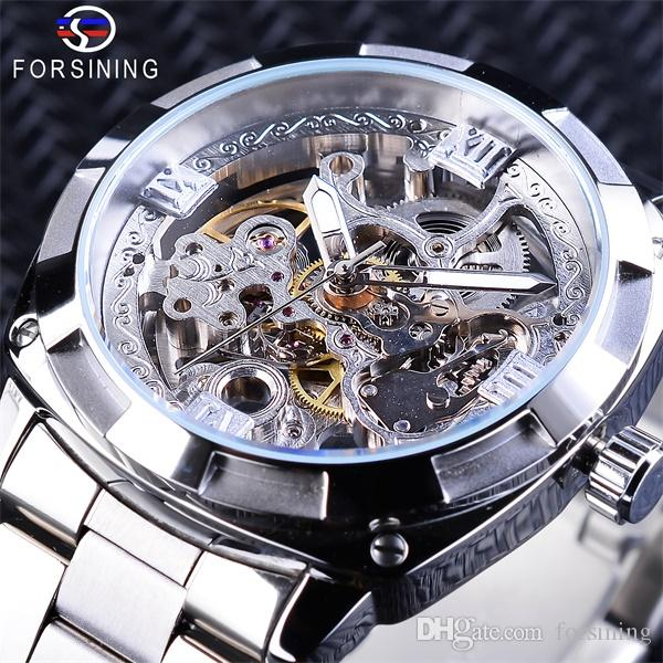 Forsining Brand Mechanical Watches Fashion Silver Men Automatic Watches Top Luxury Watch Luminous Hands Waterproof Skeleton Male Clock