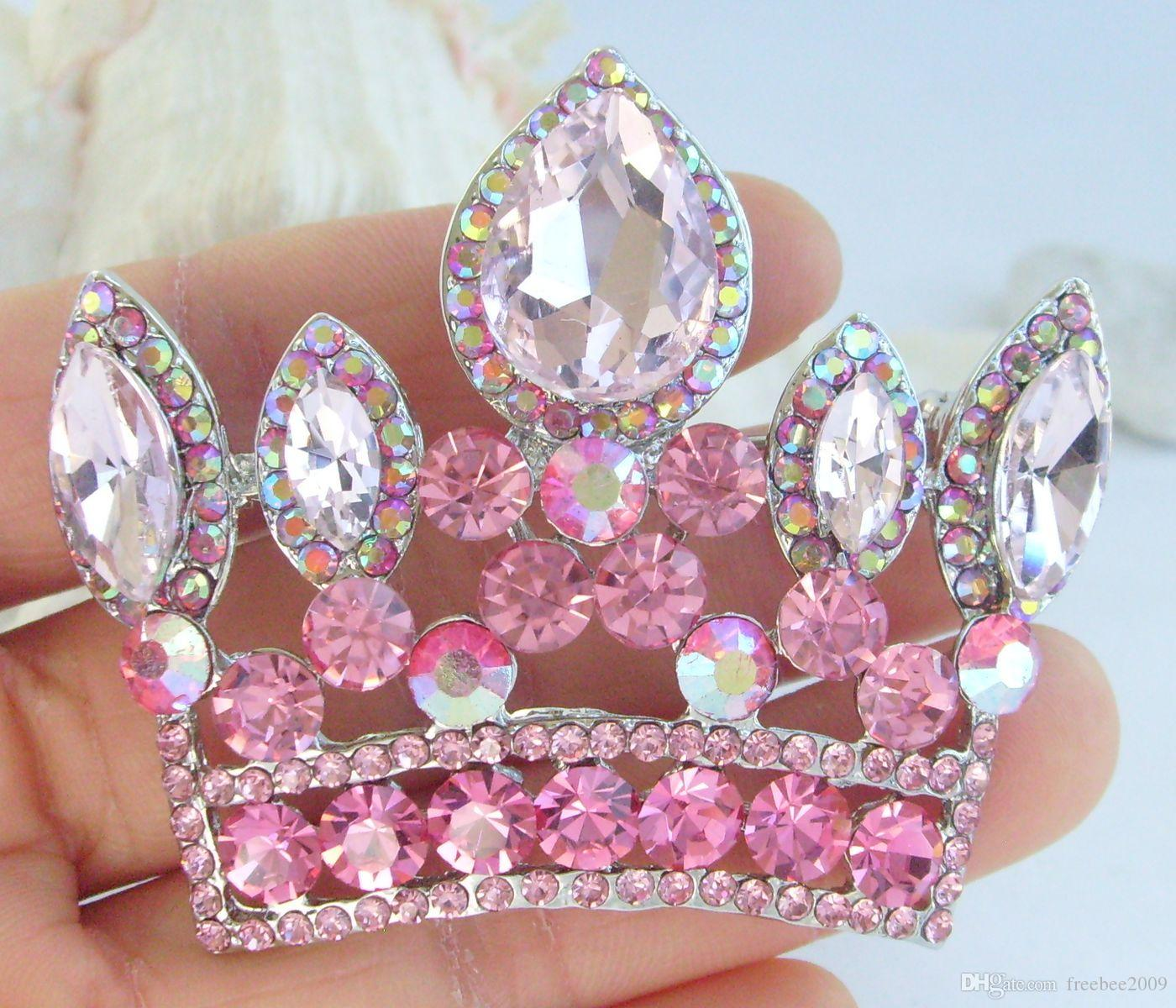 Splendida spilla a corona con cristalli di strass rosa EE05050C3