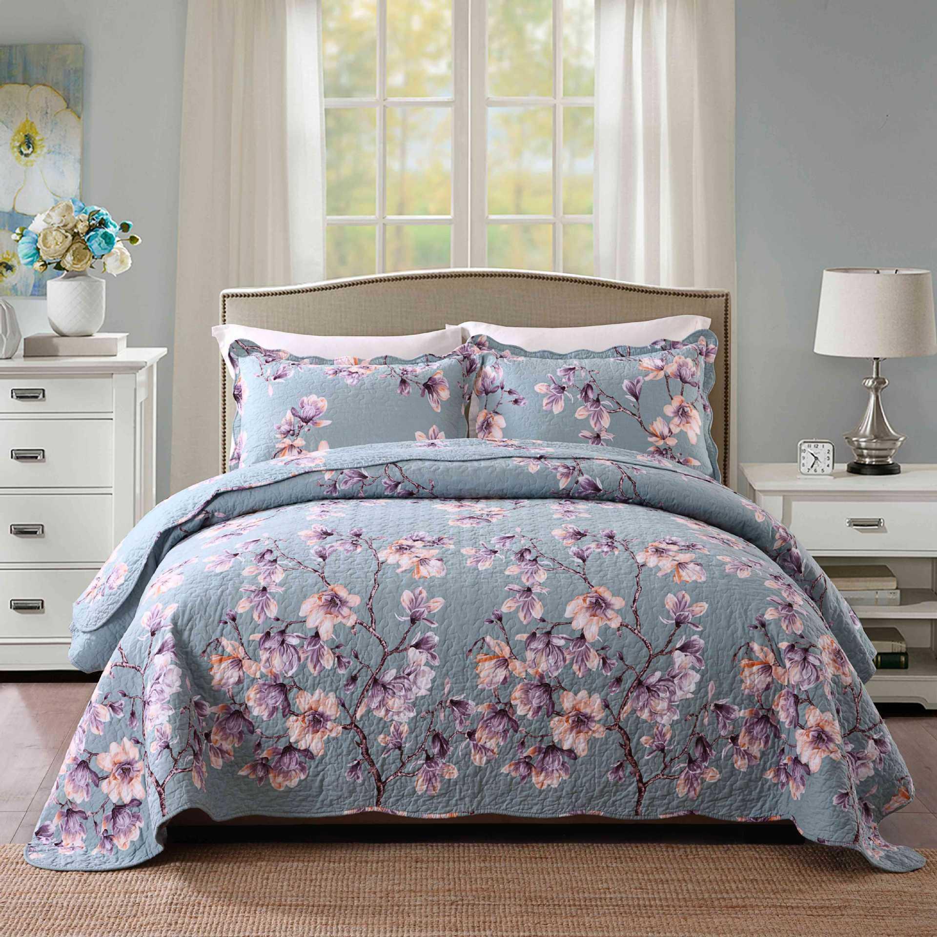 Cotone Copriletto Pillowcover 3pc set KingSize 230x250cm Twill Trapunte Coperte Quilting qualità Blu fiore del ricamo Copriletto
