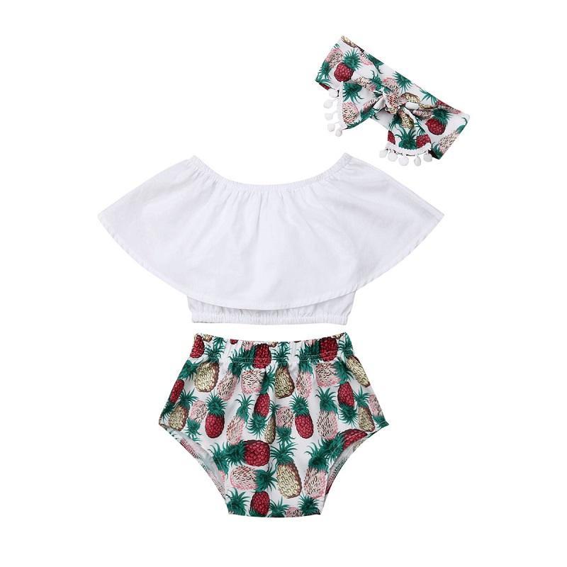 0-3Y 3pcs bebê Crianças Summer Girl Clothes Tanque de culturas Top Vest + Shorts Pants Outfits Set bebê