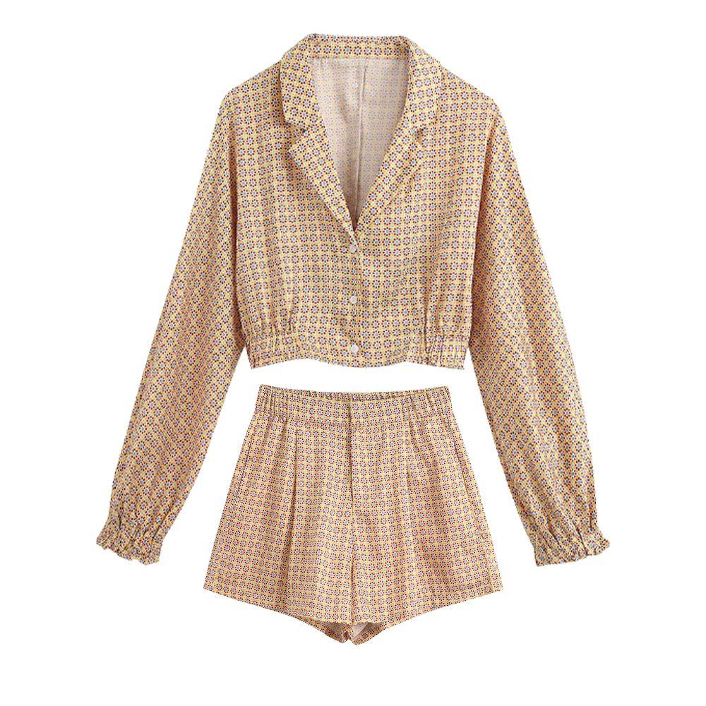 nuevos juegos del verano de las mujeres de dos piezas del estilo pijama impresa ZA tapas blandas blusa corta impreso cortocircuitos flojos ocasionales T200701 pierna ancha