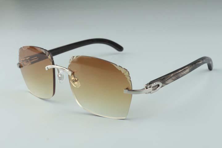 2019 nouveau style 3524018-10 micro-lentilles de coupe, lunettes de soleil temples corne de buffle naturel noir texturé verres, taille: 18-140mm