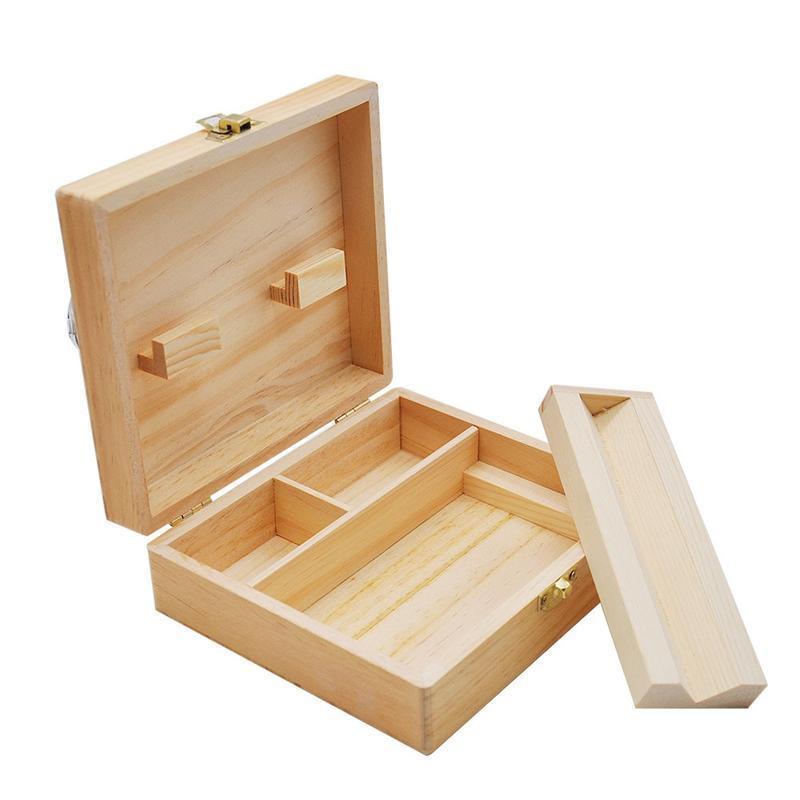 Portatile sigaretta Scatola di legno con Vassoio di rollaggio Handmade naturale di legno Tabacco Storage Box Container For Smoking Pip Accessori
