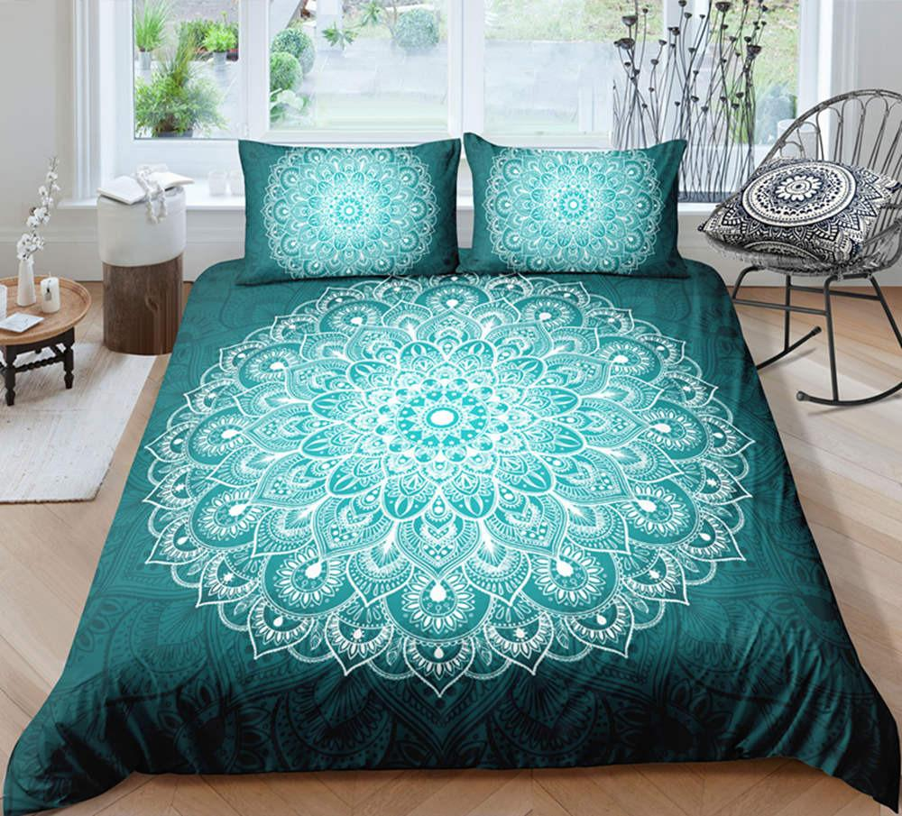 White and Green Bohemia Style Bedding Set King Size Big Flower 3D Duvet Cover Queen Home Dec Single Double Bedspread with Pillowcase