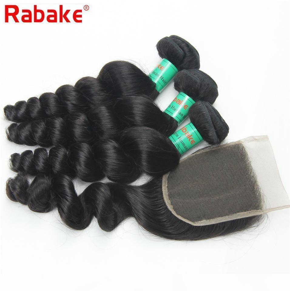 Rabake 8A Qualidade Virgin brasileiro Pacotes de cabelo com soltos Onda de cabelo Weave extensões Humanos Lace Encerramento brasileiros com 4x4 Top Lace Encerramento
