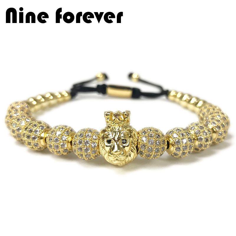 Nine Forever Crown Lion Charms Beads Bracelet Men Jewelry Braiding Macrame Bracelets Pulseira Masculina Gift Bileklik Y19051101