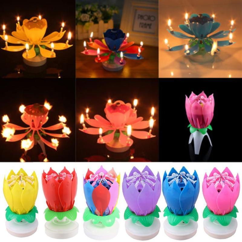 1PC Beautiful Blossom Lotus Flower Candle Birthday Party Cake Music Cake Topper Rotating Candles Decoration